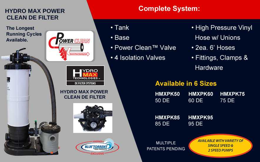 Hydro Max Power Clean De Filters Blue Torrent Pool Products